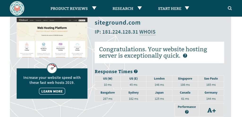 Siteground server speed
